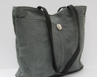 WAXED CANVAS TOTE by Elizabeth Z Mow  Rugged Beauty Bluish Greenish Gray with Black Leather