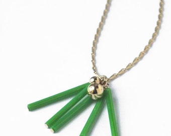 Green tube necklace, Geometric necklace, Vintage glass beads, Gold sautoir, Contemporary, Geometric jewelry, Mothers day, Simple jewelry