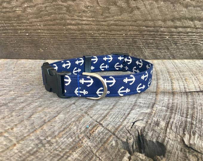 Silver Anchor Dog Collar