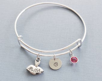 Ballet Bracelet, Ballerina, Tutu, Initial Bangle, Silver Bangle, Personalized, Expandable, Charm Bracelet, Swarovski Birthstone, Birthday