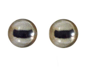 16mm Goat Glass Eyes - Pale Animal Eyes Eyes - Glass Eyes for Doll, Sculpture, Taxidermy or Jewelry Making - Set of 2
