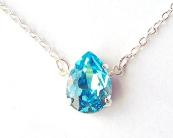 Aquamarine rhinestone necklace / Swarovski / blue pendant / aqua / sky blue / teardrop crystal / gift for her / March / birthday gift