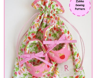 PDF Reversible Baby Shoes in a Bag - Sewing Pattern - Zakka - Instant Download
