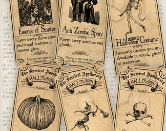 Survive Halloween Apothecary Labels printable paper craft art hobby crafting scrapbooking instant download digital collage sheet - VD0381