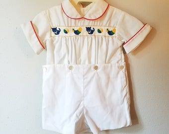 Vintage Boys White 2 Piece Outfit with Retro Trim with Cat, Bird, and Beach Ball by C.I. Castro- Size 12 months- New, never worn