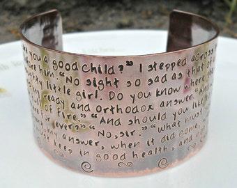 Jane Eyre Stamped Copper Bracelet, Jane Eyre Jewellery, Charlotte Bronte Naughty Little Girl Cuff, English Teacher Gift, Literature Gift.