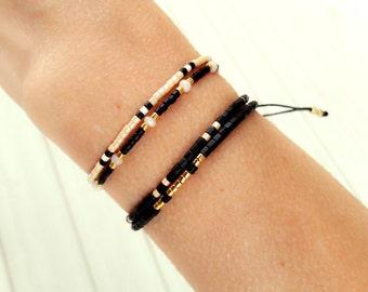 Boho Jewelry , Black Boho Beaded Bracelet, Bohemian Bracelet, Beaded Wrap Bracelet, Wrap Bracelet
