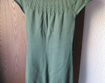 Vintage Charlotte Russe Sweater Dress Size Medium Hunter Green Cotton