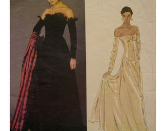 Nina Ricci Strapless Evening Gown Pattern, Princess Seams, Flared Skirt, Attached Sleeves, Vogue Paris Original No. 2604 Size 8