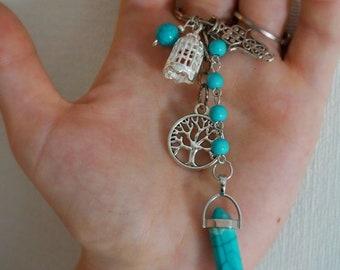 Turquoise Buddha tree keychain