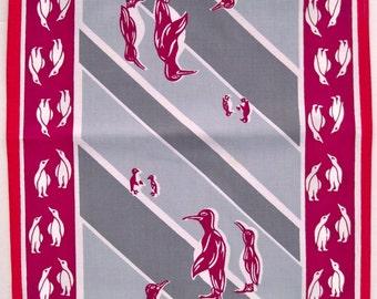 Unusual Vintage Tea Towel - Perky Penguins