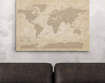 Gallery wrapped personalized canvas map earth toned world gallery wrapped personalized vintage world map on canvas 24 x 36 push pin gumiabroncs Gallery
