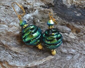 Dichronic Glass and Swarovski Crystal Earrings