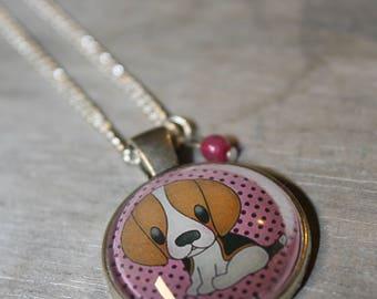 PTI beaglou pink - glass cabochon necklace
