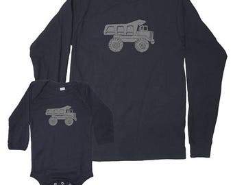 Father Son Dad Son Matching Shirts Long Sleeved Dump Truck Matching Men and Kid shirts new dad shirt gift for dad Fathers Day present