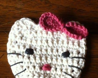 applique cat crochet ecru and pink