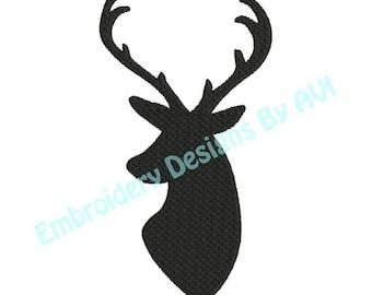 Deer Head Buck Antlers Silhouette Shadow Machine Embroidery Designs 4x4 & 5x7 Instant Download Sale