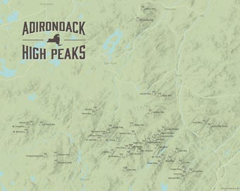Adirondack High Peaks Map 11x14 Print
