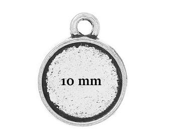 50 blank cabochon 10 mm antique silver