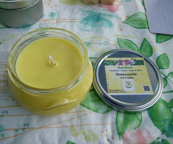 Yellow Honeysuckle Scented Soy Candles in Glass Tureen Jars - Choose from 3, 6 or 11 oz