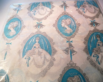 Vintage Cameo Wedding Gift Wrap, 60s Bridal Shower Wrapping Paper, Two sheets 20X30 inches, New old stock, Blue White, Wedding Album paper