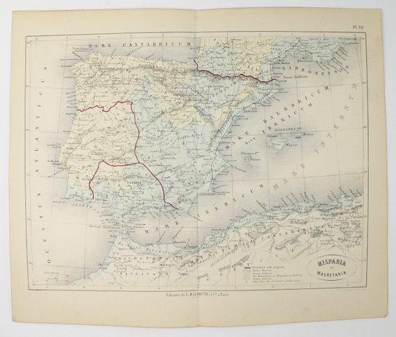 Antique 1865 Spain Map Mauretania Northern Africa Map