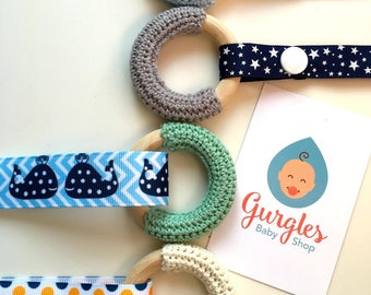 Baby teether, crochet wooden teething ring , sensory ring only/or mini gift set