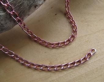 50 cm chain 9 x 5 mm aluminum twist, pink metallic.