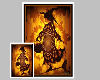 Funky Halloween Art Print,  Witch Halloween Print,  Silhouette of Witch  #13