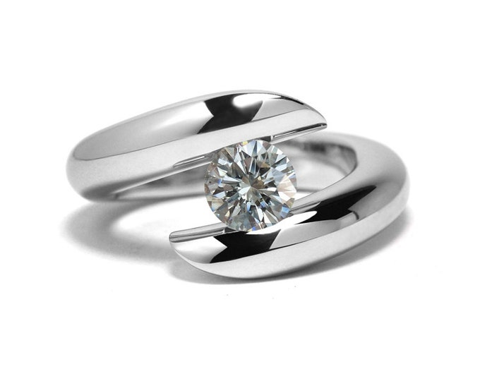 White Sapphire Bypass Tension Setting Engagement Ring Stainless Steel