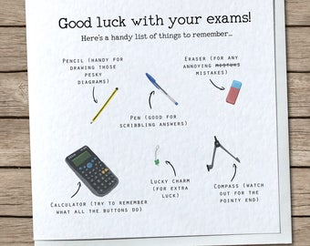 Good luck cards etsy uk exam list greetings card cutehumourfunny good luck with your exams m4hsunfo