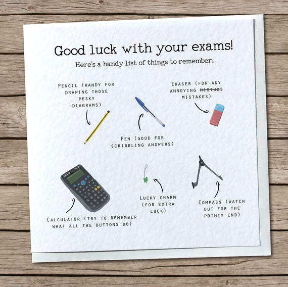 Exam list greetings card good luck with exams cute cool m4hsunfo