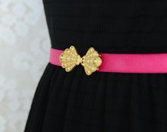 Fuchsia belt, Waist Belt, Dress belt, Gold Buckle,  Bridal belt, Wedding belt, Bridesmaids Belt, Stretchy Belt, Sash Belt, Pink belt, Ribbon