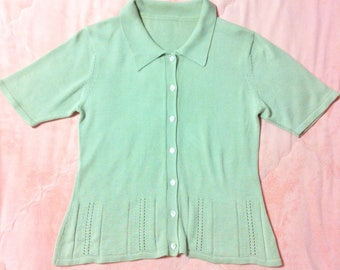 Vintage Pastel Green Sweater Top, Vintage Pastel Sweater Top Blouse, Vintage Pastel Sweater Top