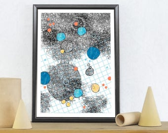 Abstract Art, Gray Art Print, Abstract Wall Art, Planet Print, Galaxy Print, Constellation Art, Space Themed Nursery, Living Room Wall Decor