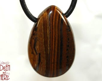 Tiger's eye on leather strap / cotton cord (necklace)