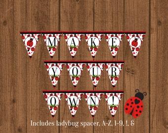Ladybug Banner, Lovebug Banner, Ladybug Birthday Party, Ladybug 1st Birthday, Ladybug Baby Shower Banner, Instant Download