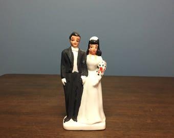 Vintage 1940's Art Deco Bisque Wedding Cake Topper Bride and Groom (CT #5)