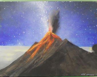 Volcano Erupts Under Milky Way