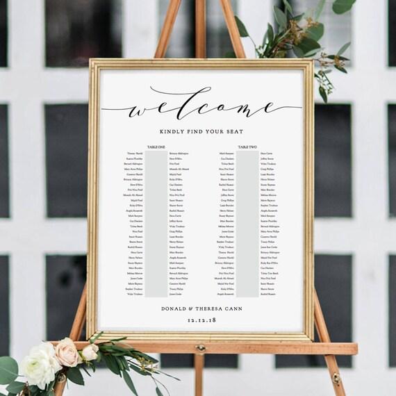 "2 Table Seating Plan, Printable Portrait Seating Plan Template, Printable Template, ""Wedding"", 6 sizes included Edit in ACROBAT"