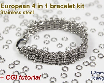 European 4 in 1 Bracelet Kit, Chainmaille Kit, Stainless Steel, Chainmail Kit, Jump Rings, Box Chain Tutorial, Chainmaille Tutorial