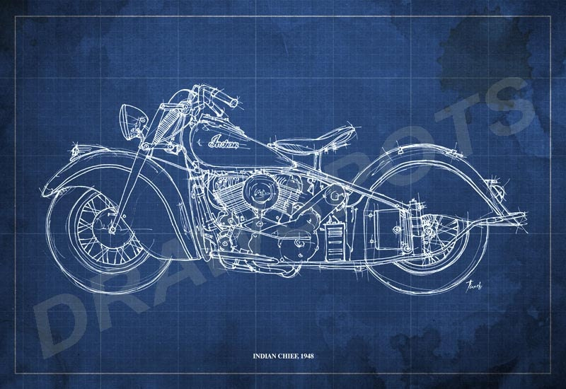Indian chief 1948 blueprint art print 12x8 in motorcycle art zoom malvernweather Images