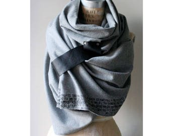 gray wool Scarf, leather text scarf, Winter Accessories, Large Scarves, Unisex,  Fashion accessories
