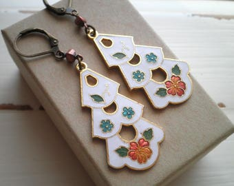 Vintage Flowers Cloisonne Earrings - Retro Enamel Flower Charm Dangles - Statement Lilies Floral Boho Nature Jewelry - Stocking Gift For Her