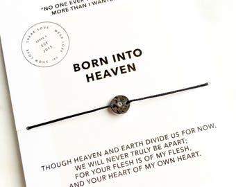 Sterling Coin Born Into Heaven Bracelet/ Inspirational Jewelry/ Layering Bracelet/ Miscarriage Jewelry/ Remembrance Bracelet/ Sympathy Gift
