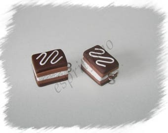 """""""Chocolate millefeuille"""" charm in polymer clay"""