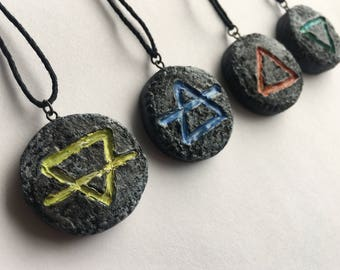 Earth / Air / Fire / Water - Elemental Pendants / Pagan Jewelry / Magic / Symbols / Vibration