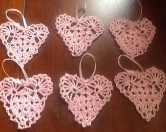 New Valentine heart ornaments ...handmade lace