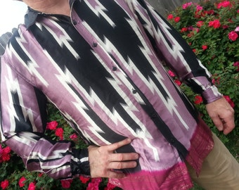 Men's Handmade Sari Silk Button Down, Long Sleeves Dress Shirt - Black and Mauve - Bodvar  H791