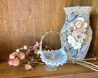 Exquisite Vintage Lace Decorated Vases(Pricing will vary) Contact DausnGlo before purchasing please